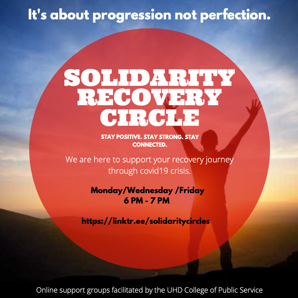 Recovery Groups for  UHD & Community at Large (Wednesday 4:00-5:00 PM CST Password: rc2020 )