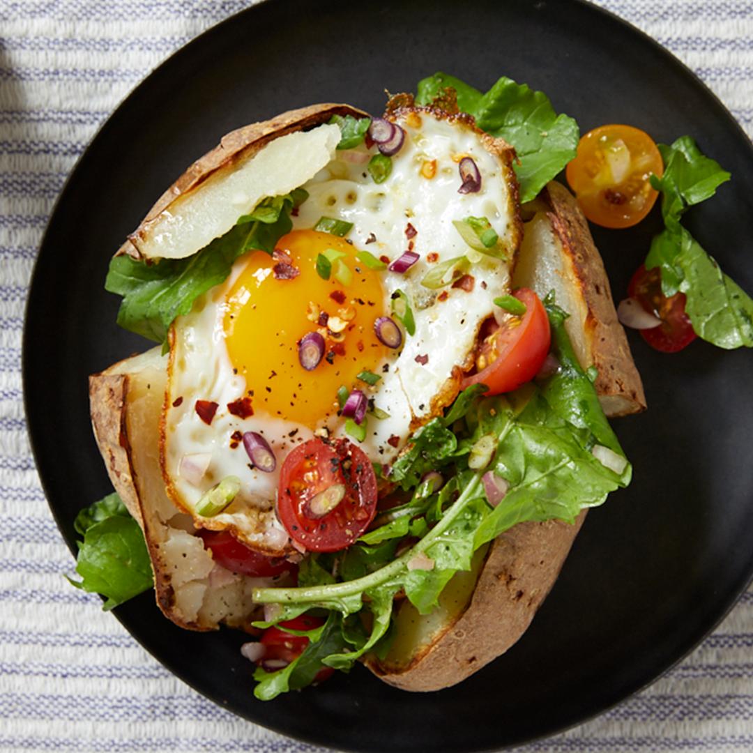 Arugula Salad With Egg Stuffed Baked Potato Recipe