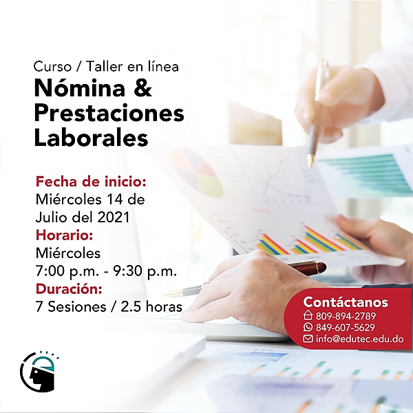 CURSO TALLER NÓMINA Y PRESTACIONES LABORALES - Miércoles 14 Julio