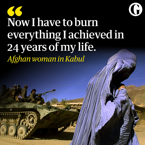 @guardian An Afghan woman in Kabul: 'Now I have to burn everything I achieved' Link Thumbnail   Linktree