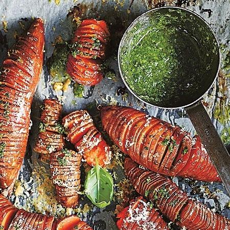 @donnahaymagazine sweet potato hasselbacks with basil salsa verde Link Thumbnail   Linktree