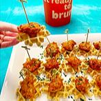 Baked Sriracha Chicken and Waffle Bites Recipe