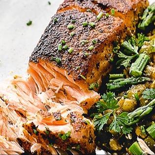 Cajun Salmon with Pumpkin Risotto
