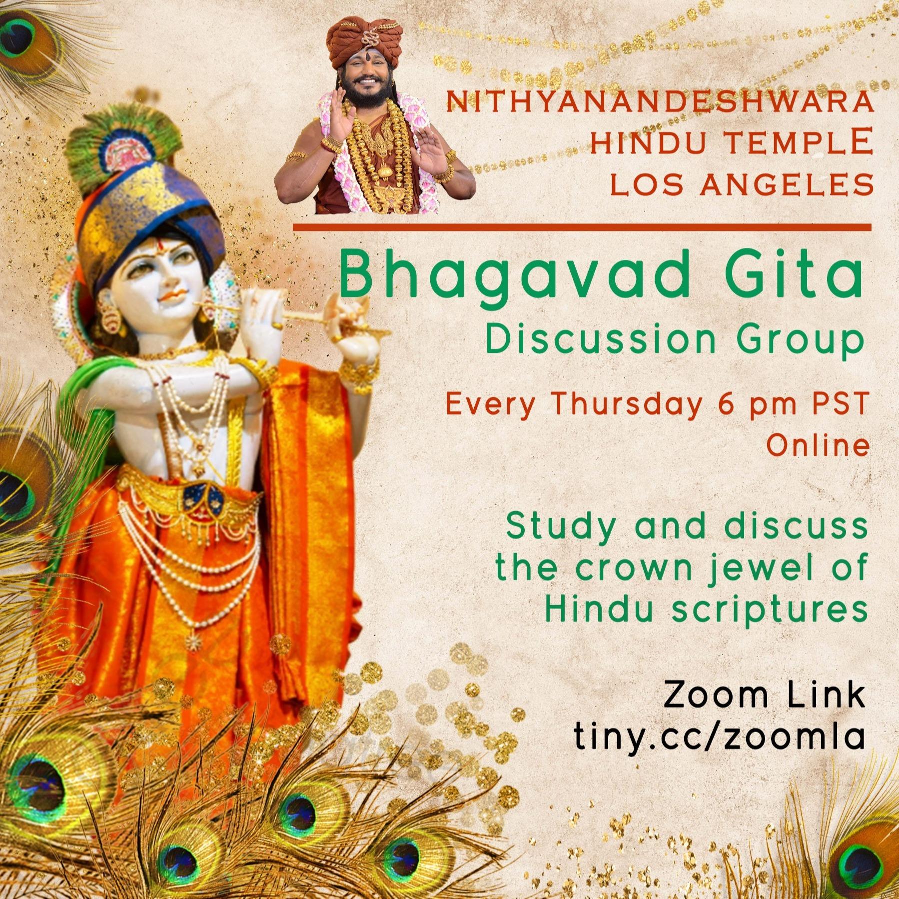 Bhagavad Gita Class: Thursdays 6 pm PST