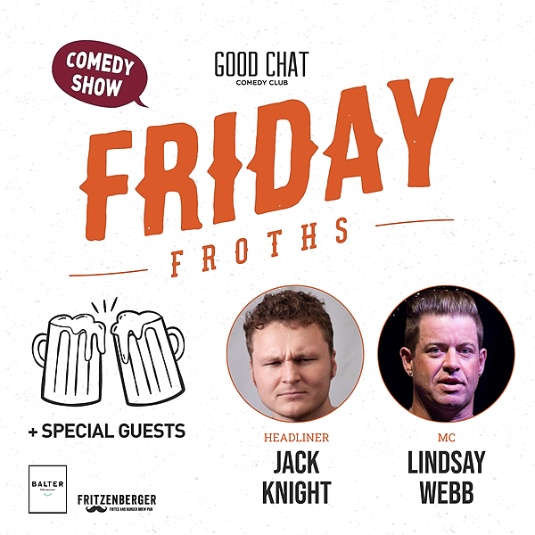 @goodchatcomedy Get tickets to Friday Froths w/ Jack Knight & Lindsay Webb! [Sept 17] Link Thumbnail | Linktree