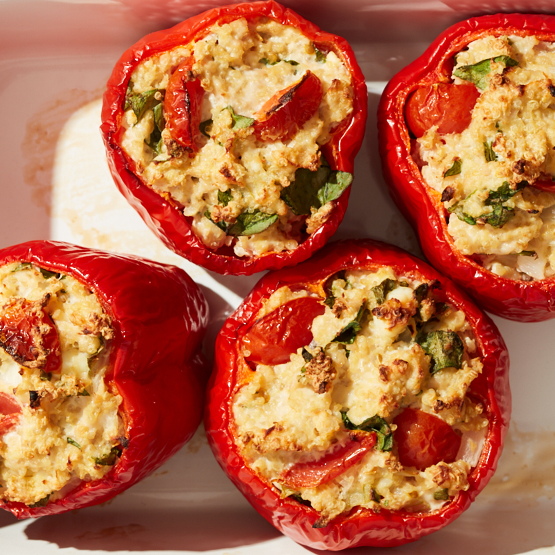 Turkey, Spinach, and Feta-Stuffed Peppers Recipe