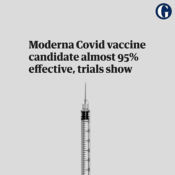 @guardian Moderna Covid vaccine candidate almost 95% effective, trials show Link Thumbnail | Linktree