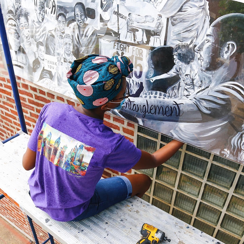 """Nilé Livingston Installs New Mural in Fishtown, """"Entanglement"""""""