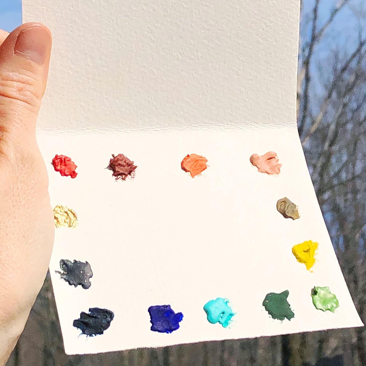 Beam Paints Dot Palette of 13 Handmade Watercolors + brush combo
