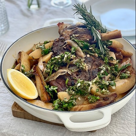 The Cordony Kitchen Lamb Shoulder with cumin, rose harissa and potatoes - GF, DF, NF, RSF Link Thumbnail   Linktree