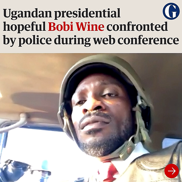 Bobi Wine confronted by Ugandan police during appeal for ICC inquiry