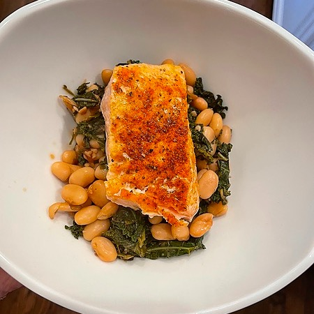 @amysmealdeal Salmon over Herby White Beans & Kale - @thedefineddish Link Thumbnail | Linktree