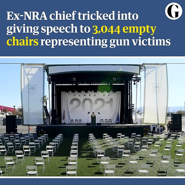 @guardian Ex-NRA chief tricked into speech to 3,044 empty chairs for gun victims Link Thumbnail   Linktree