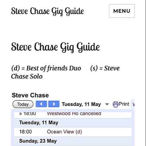 Steve Chase Singer Songwriter Gig Guide  Link Thumbnail | Linktree